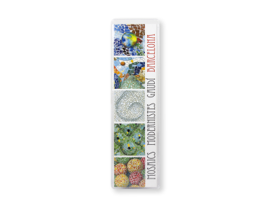 Rectangular bookmark featuring different mosaics of Gaudí's monuments in its plastic case