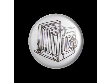 petjapapers de vidre vist des de dalt amb una il·lustració d'una càmera antiga en el seu interior