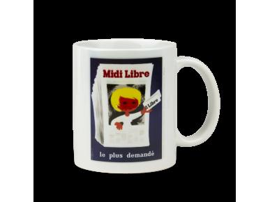 white mug with a poster by Saint-Geniès printed on it
