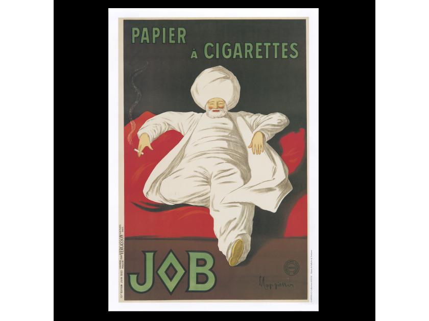 cartel publicitario de la marca de papel de fumar Job
