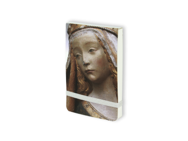 Notebook seen from the front with the face of Notre Dame de Grasse printed on the cover