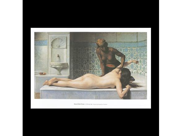 """Cartell de el quadre """"Le Massage, scène de Hammam""""."""