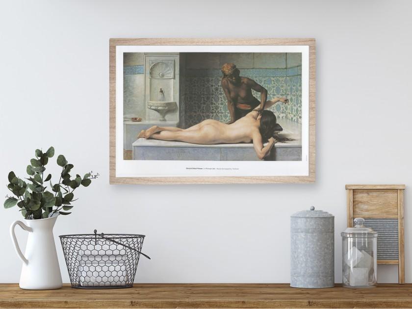 "Cartel del cuadro ""Le Massage, scène de Hammam""."