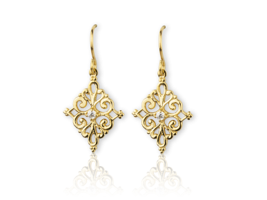 Golden Diamond-shaped Hook Earrings