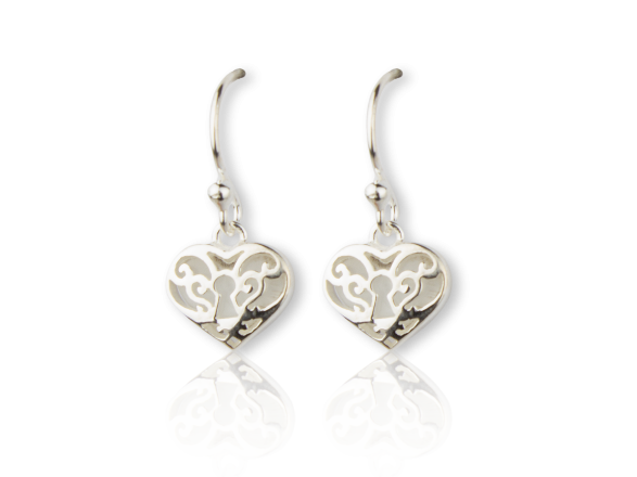 Silvery Heart-shaped Hook Earrings inlaid with Mother of Pearl