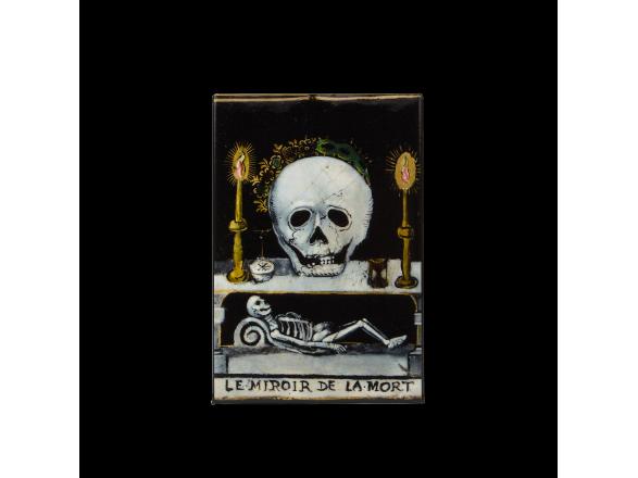 "rectangular magnet featuring a detail from the painting ""Le Miroir de la Mort""."