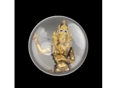 Petjapapers vist des de dalt amb la imatge d'una estatueta de la deessa budista Vajravârâhî.