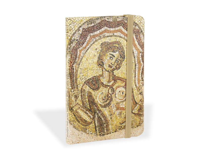 notebook seen from the front with a cover showing a reproduction of the Dotô mosaic
