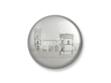 pisapapeles de cristal visto desde arriba con un boceto de la antigua prisión Saint-Michel de Toulouse