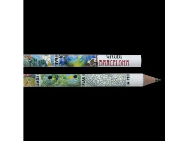 Dos lápices ilustrados con los mosaicos de diferentes monumentos de Gaudí