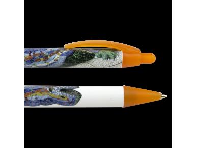 Dos bolígrafos ilustrados con el mosaico del dragón del Park Guëll
