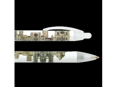 Dos bolígrafos ilustrados con los monumentos románicos y góticos de Barcelona