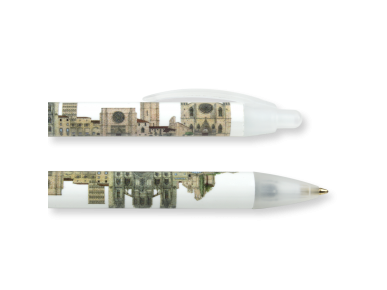 Two pens illustrated with the Romanesque and Gothic monuments of Barcelona