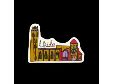 imán de madera que representa un dibujo de la catedral de lleida en color