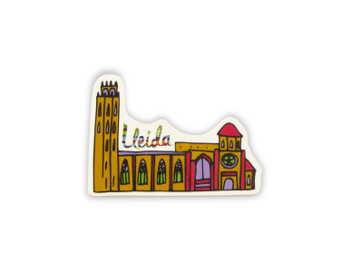 wooden magnet representing a drawing of the cathedral of lleida in colour