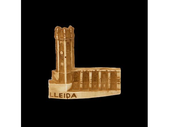 Imán de resina que representa la catedral de Lleida