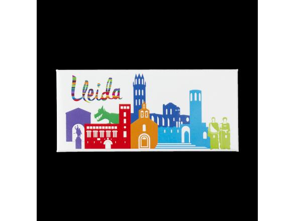 imant rectangular que mostra un horitzó de monuments de Lleida en color