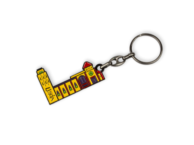enamelled metal keyring featuring Lleida Cathedral in colour