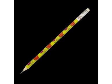crayon à papier avec une gomme à l'extrémité et décoré de plusieurs dessins d'escargots
