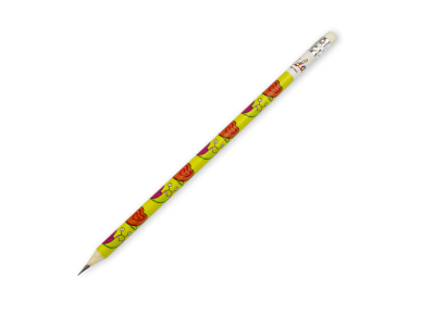 pencil with an eraser on top and decorated with several drawings of snails