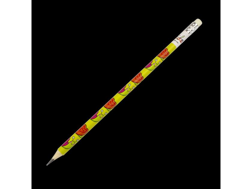 lápiz con una goma de borrar en la punta y decorado con varios dibujos de caracoles