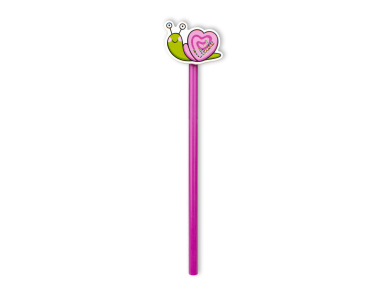 crayon à papier rose avec un escargot coloré à son extrémité