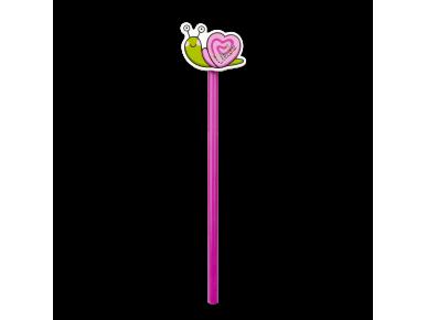 lápiz rosa con un caracol de color en la punta