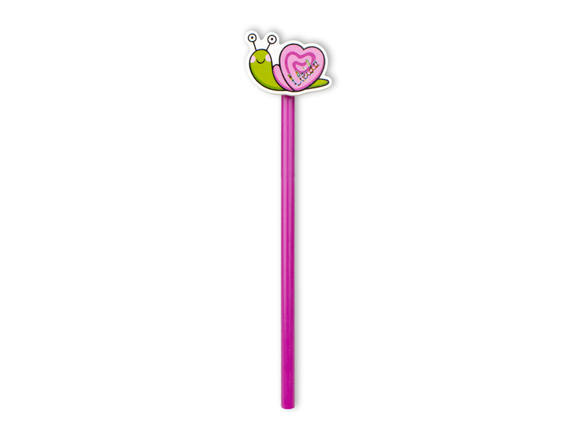 pink pencil with a coloured snail on top