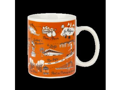 Taza de cerámica naranja con varios símbolos de Lleida impresos