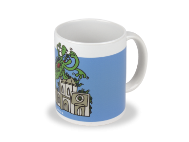 ceramic mug with a drawing of the Marraco and the cathedral of Lleida