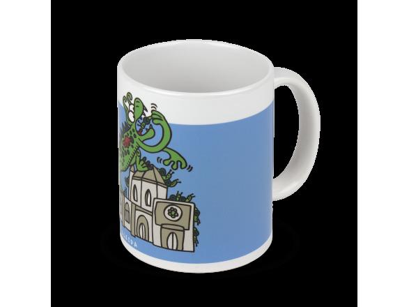 taza de cerámica con un dibujo del Marraco y la catedral de Lleida