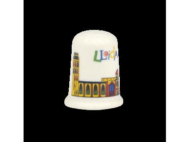 Didal de ceràmica amb un colorit disseny de la catedral de Lleida imprès