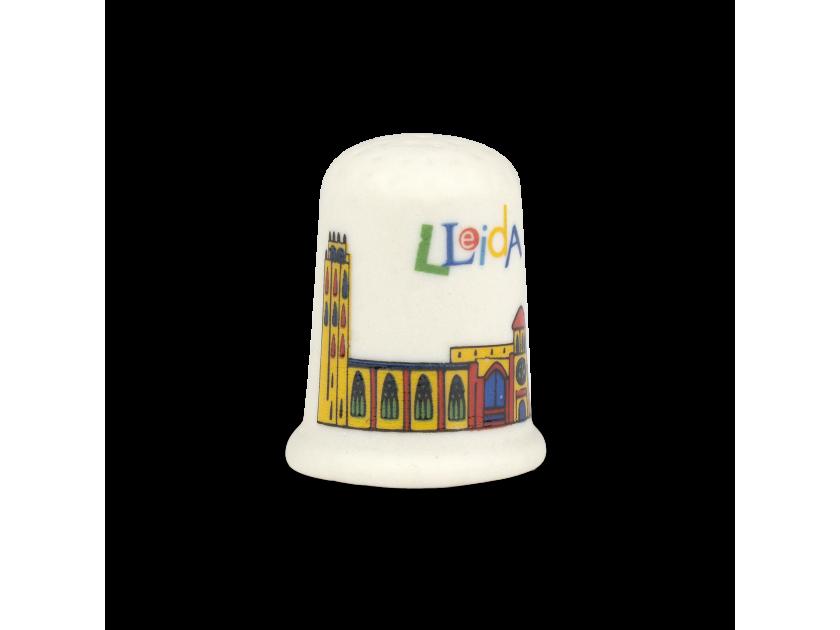 Dedal de cerámica con un colorido diseño de la catedral de Lleida impreso
