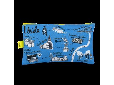 trousse bleue avec différents symboles de Lleida imprimés dessus
