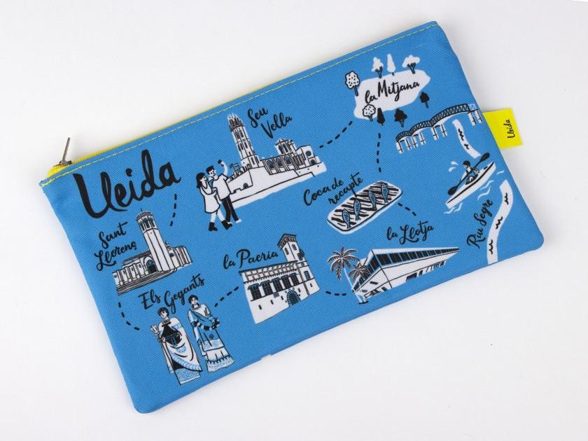 estuche azul con diferentes símbolos de Lleida impresos