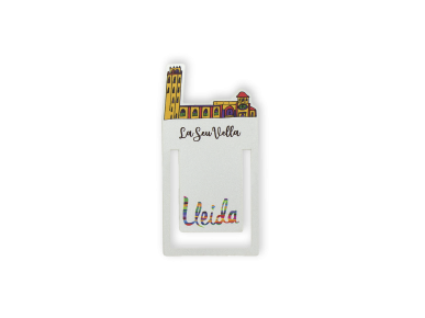 Marcapáginas clip metálico con un colorido dibujo de la Catedral de Lleida