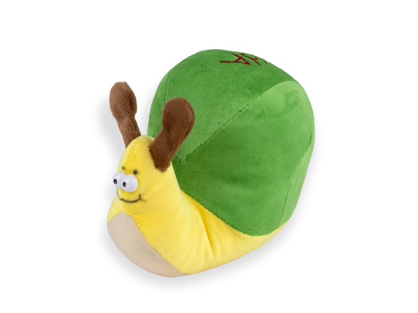 green and yellow snail plush