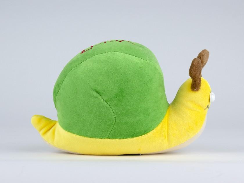 peluche de caracol verde y amarillo