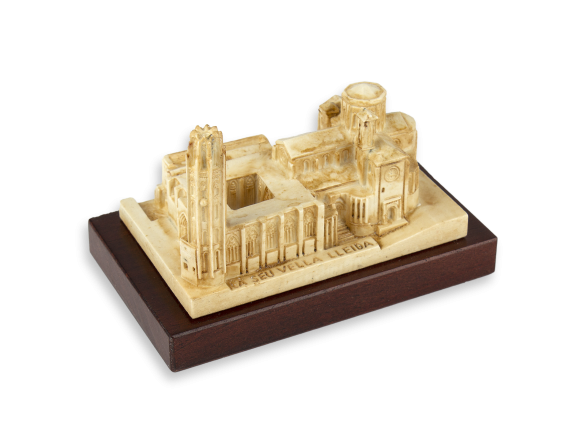 resin model of Lleida Cathedral on a wooden base