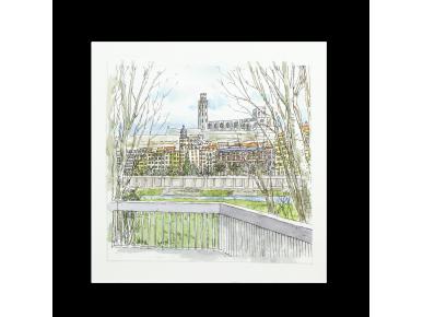acuarela de una vista de la Catedral de Lleida