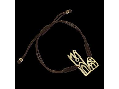 pulsera con un eslabón de cordón y una representación de la catedral de Lleida en metal dorado