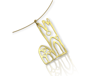 necklace with a golden metal pendant featuring Lleida Cathedral