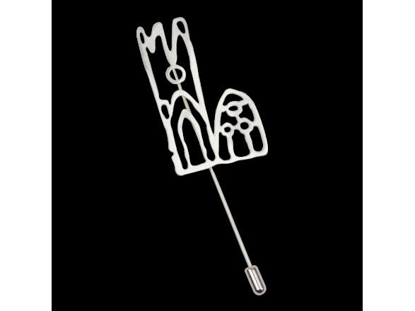 broche plateado que representa la catedral de Lleida