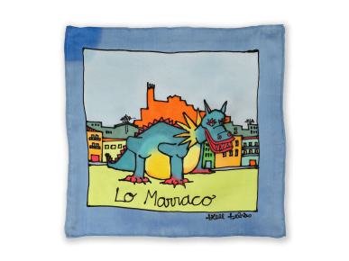 painted silk square featuring the Marraco de Lleida