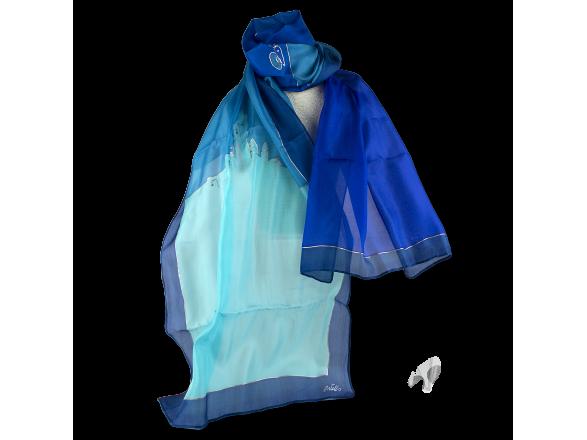 fulard de seda pintat en tons blaus