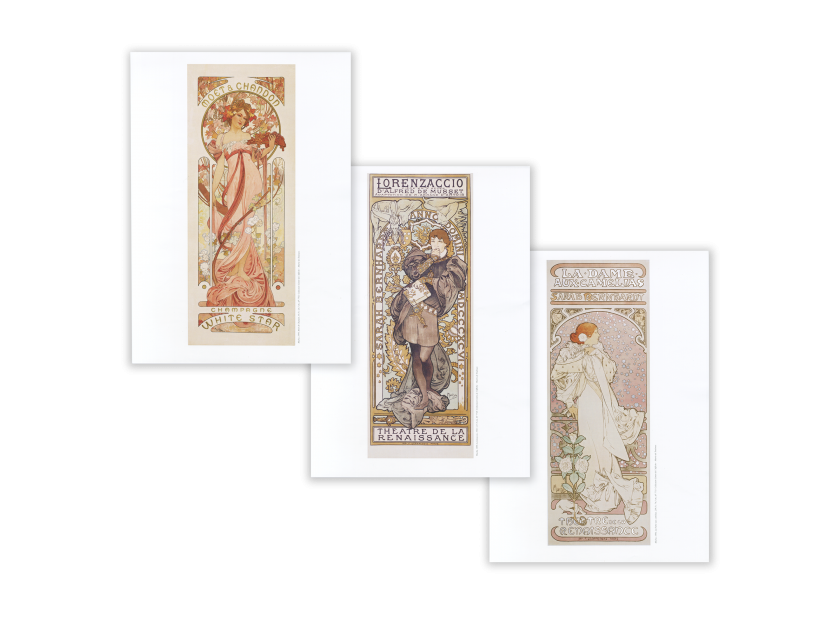 three posters by Alphonse Mucha