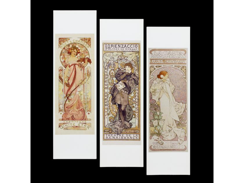 tres marcapáginas que reproducen carteles de Alphonse Mucha