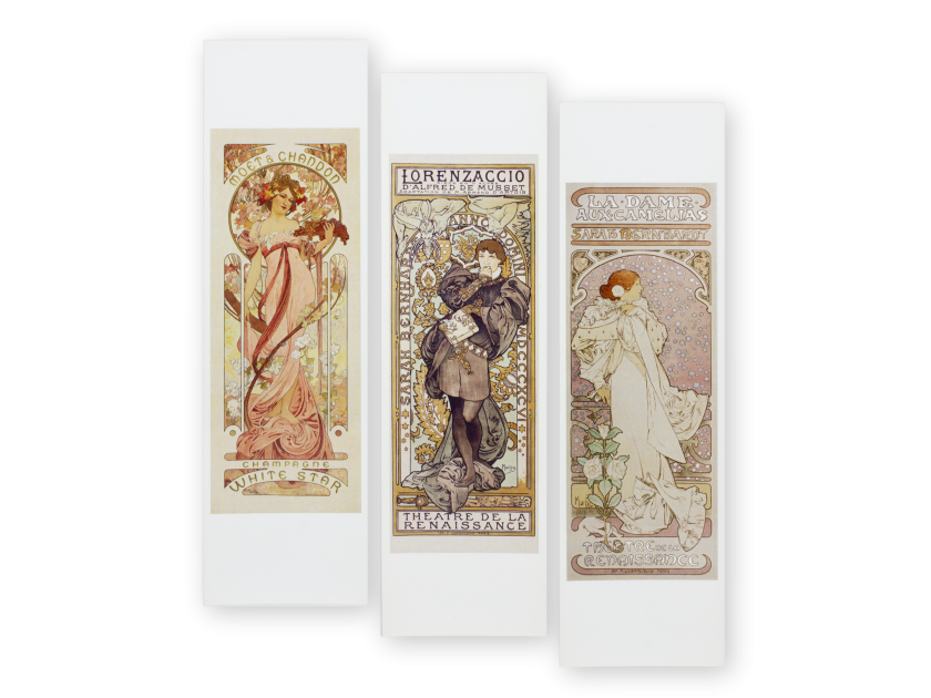 three bookmarks reproducing posters by Alphonse Mucha
