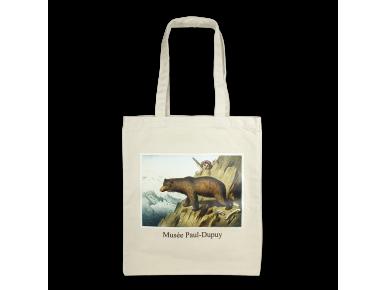 Bolsa de algodón natural con un cuadro de un oso pardo impreso