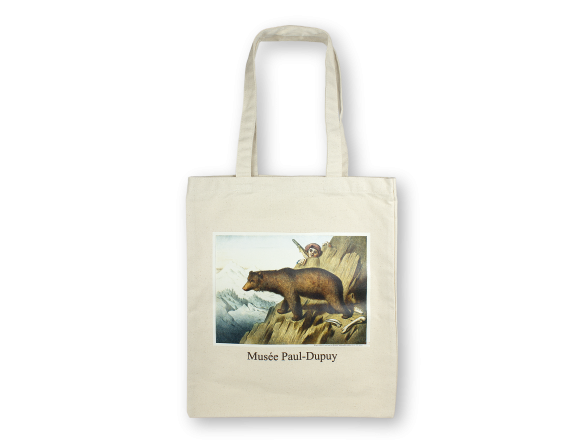 Natural cotton tote bag with a painting of a brown bear printed on it